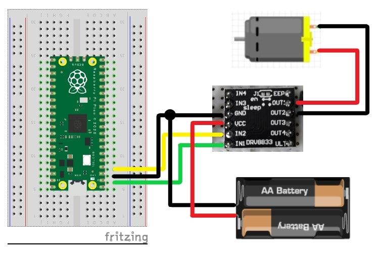 【Raspberry Pi Pico】DCモーターをモータードライバで制御する