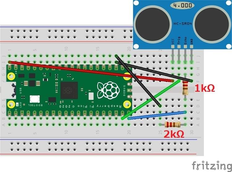 【Raspberry Pi Pico】超音波センサーの回路図